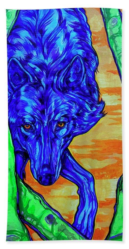 Wolf Hand Towel featuring the painting Blue Wolf by Derrick Higgins
