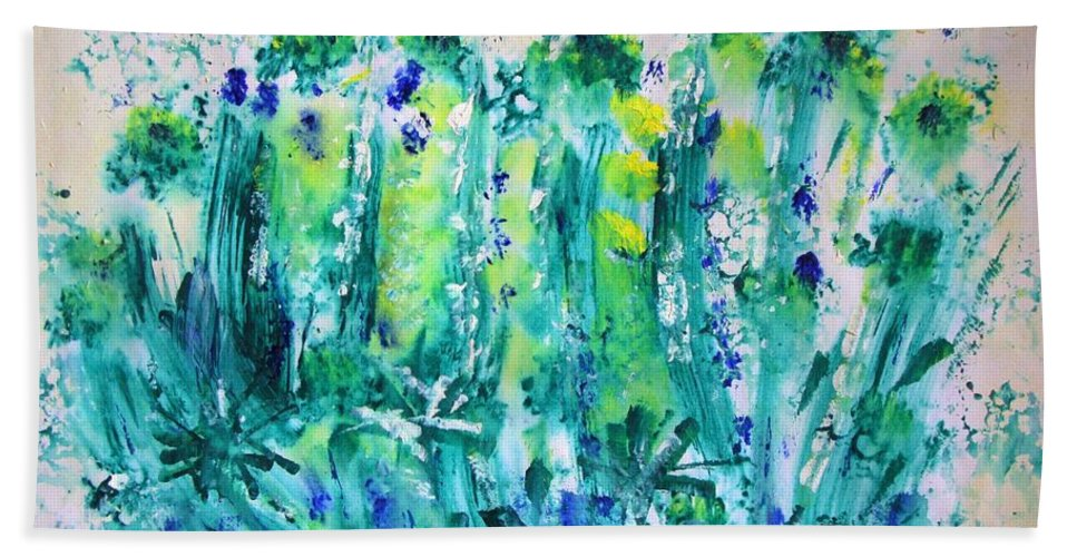 Expressive Hand Towel featuring the painting Bluebell Wood by Veronica Rickard