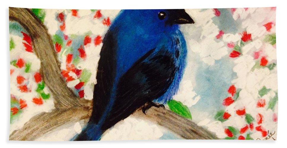 Bird Bath Sheet featuring the pastel Bluebird Amid Apple Blossoms by Renee Michelle Wenker