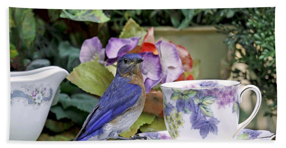 Billy Bluebird Photography Bath Sheet featuring the photograph Bluebird And Tea Cups by Luana K Perez