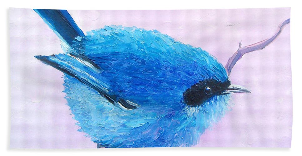Bluebird Bird Paintings Hand Towel featuring the painting Bluebird by Jan Matson