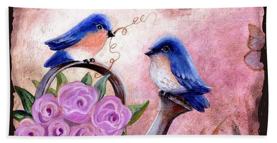 Shabby Chic Bath Sheet featuring the painting Bluebirds And Butterflies by Marilyn Smith