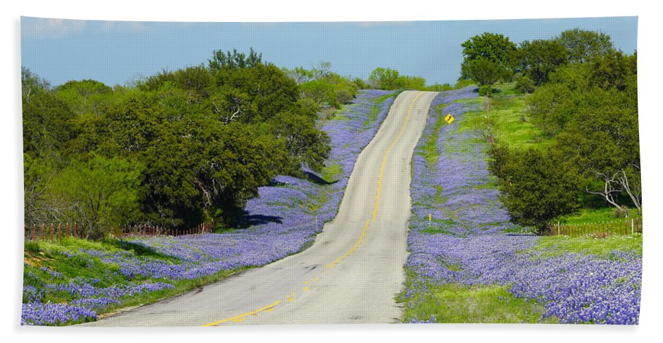 Texas Hand Towel featuring the photograph Bluebonnet Highway 2am-28667 by Andrew McInnes