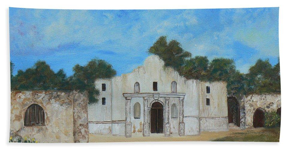 The Alamo. Bluebonnets. Landscape Hand Towel featuring the painting Bluebonnets At The Alamo by Cheryl Damschen