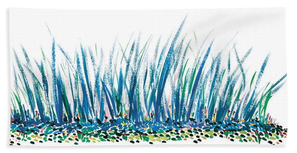 Contemporary Hand Towel featuring the painting Bluegrass by Bjorn Sjogren