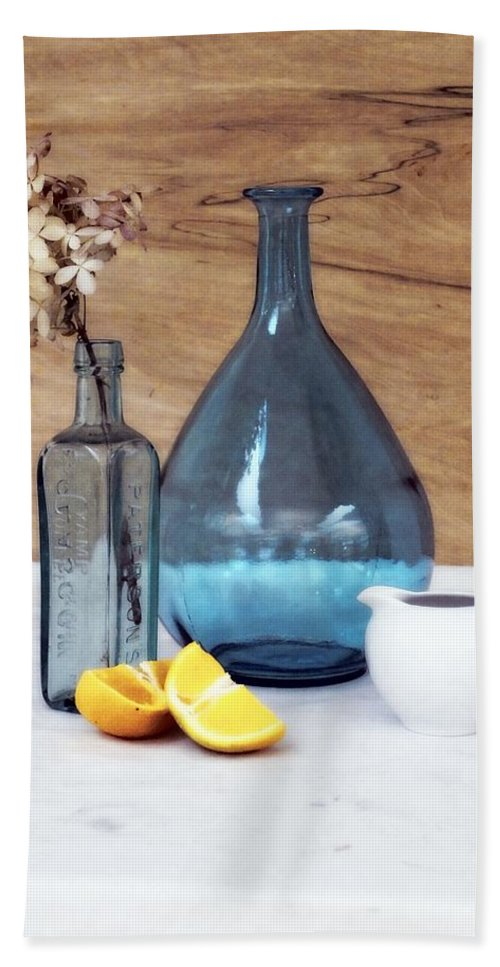 Setting Hand Towel featuring the photograph Blues And Oranges by Deborah Crew-Johnson