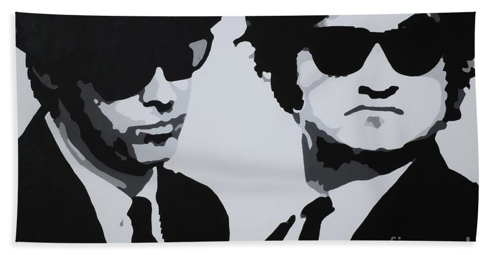 Blues Brothers Hand Towel featuring the painting Blues Brothers by Katharina Filus