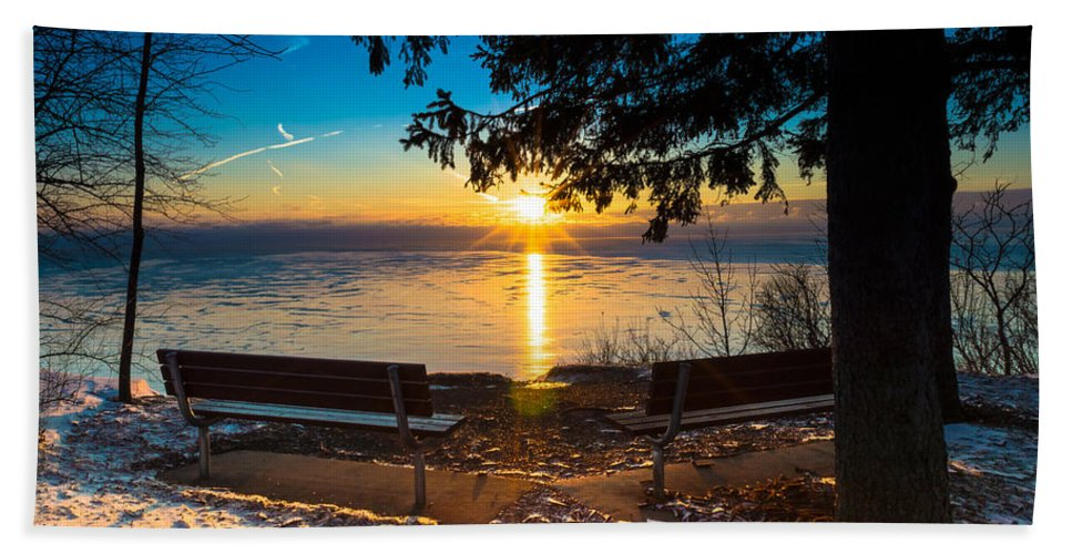 Sunrise Bath Sheet featuring the photograph Bluff Benches by James Meyer
