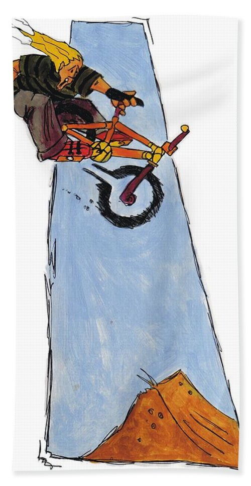 Mike Jory Bmx Bath Sheet featuring the painting Bmx Drawing by Mike Jory