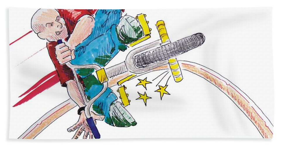 Mike Jory Gary Bath Sheet featuring the painting Bmx Drawing Peg Grind by Mike Jory