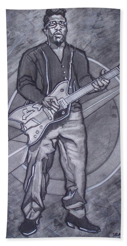 Texas;charcoal;king Of Rock;rock And Roll;music;1950s;blues;musician;funk;electric Guitar;marble;soul Bath Sheet featuring the drawing Bo Diddley - Have Guitar Will Travel by Sean Connolly