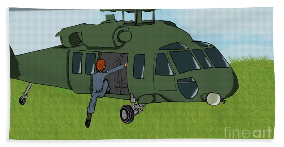 Helicopter Bath Towel featuring the digital art Boarding A Helicopter by Yael Rosen