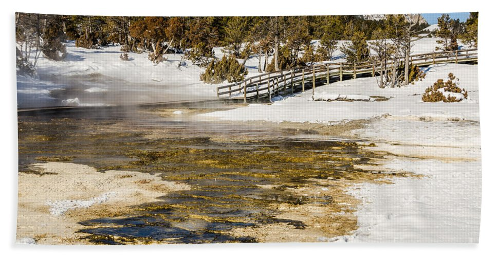 Mammoth Hot Springs Bath Sheet featuring the photograph Boardwalk In The Park by Sue Smith
