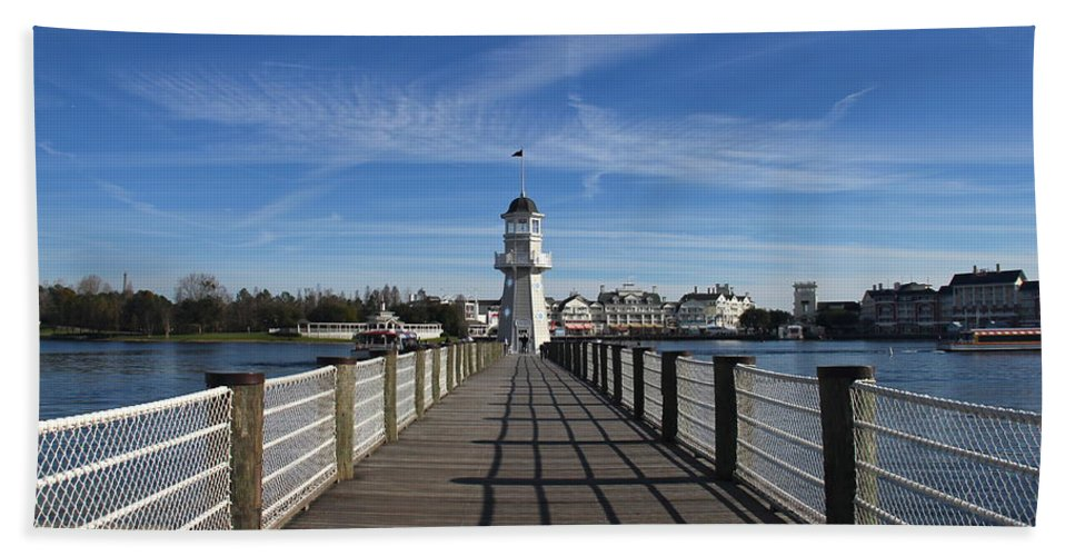 Lighthouse Bath Sheet featuring the photograph Boardwalk Lighthouse by Denise Mazzocco