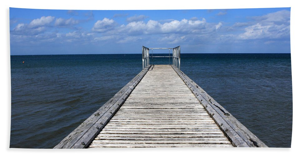 Boardwalk Hand Towel featuring the photograph Boardwalk To The Ocean by Aidan Moran