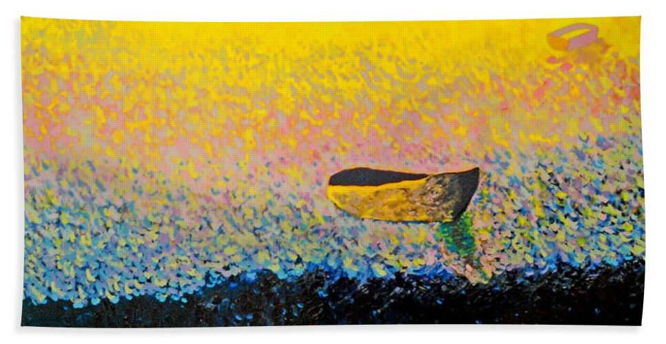 Landscape Bath Sheet featuring the painting Boat by Andrew Petras