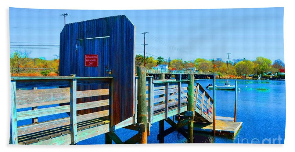 Dock Bath Sheet featuring the photograph Boat Dock In Rhode Island by Christopher Shellhammer
