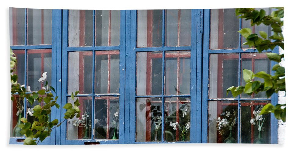 Windows Hand Towel featuring the photograph Boat House Windows by Cheryl Baxter