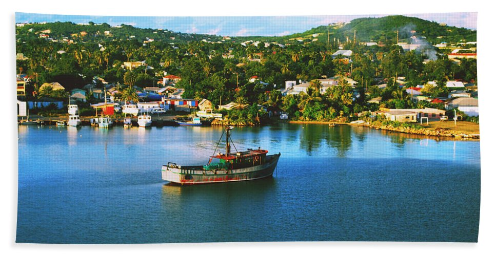 Dominica Bath Sheet featuring the photograph Boat In Harbor by Gary Wonning