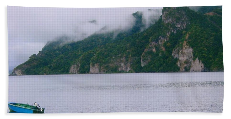 Dominica Bath Sheet featuring the photograph Boat In The Mist by Robert Nickologianis