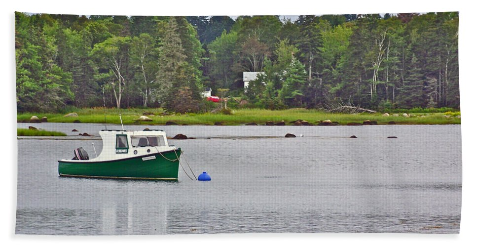 Boat On Cove In Glen Margaret Hand Towel featuring the photograph Boat On Cove In Glen Margaret-ns by Ruth Hager