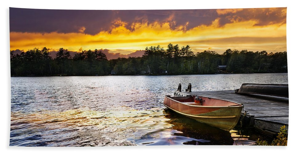 Boat Bath Towel featuring the photograph Boat On Lake At Sunset by Elena Elisseeva