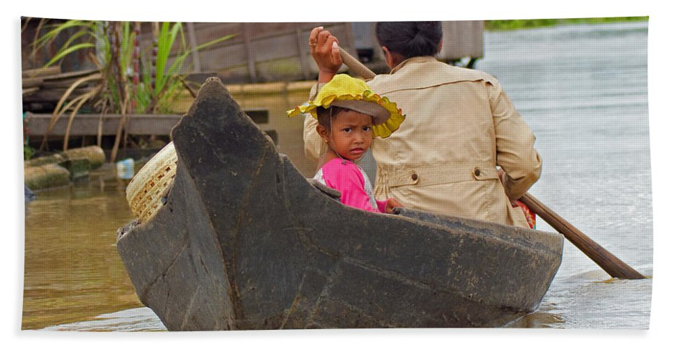 Cambodia Hand Towel featuring the photograph Boat On The River by David Freuthal