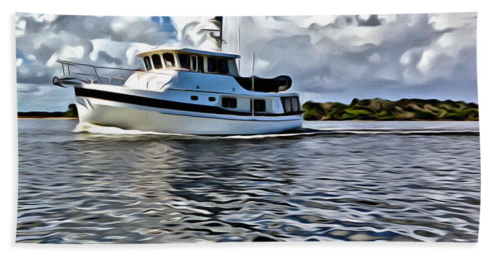 Boat Water Intracoastal Clouds Sky Scenic Bath Sheet featuring the photograph Boat Ride by Alice Gipson