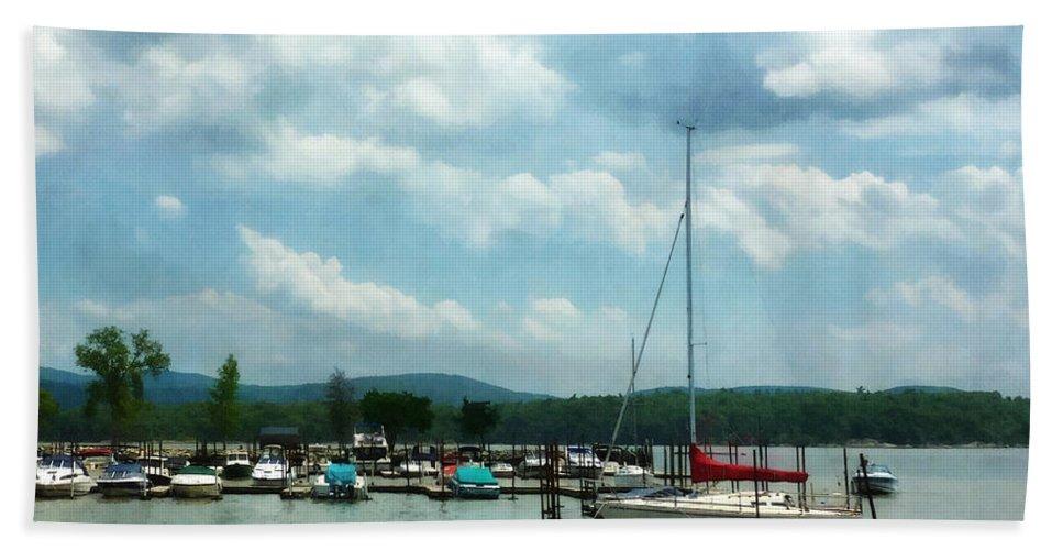 Boat Bath Sheet featuring the photograph Boat - Sailboat At Dock Cold Springs Ny by Susan Savad