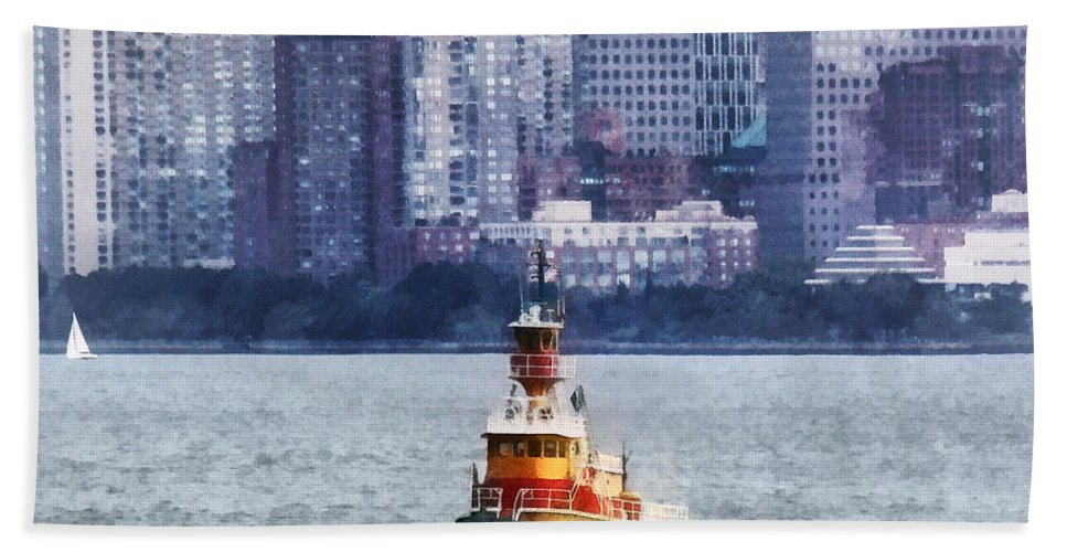 Boat Hand Towel featuring the photograph Boat - Tugboat By Manhattan Skyline by Susan Savad