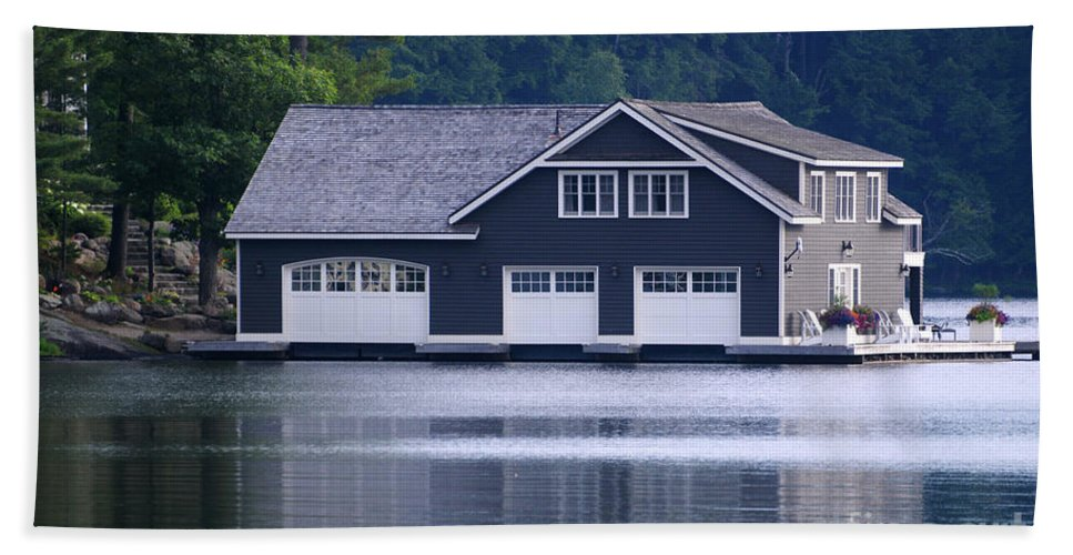 Boathouse Hand Towel featuring the photograph Boathouse by Les Palenik