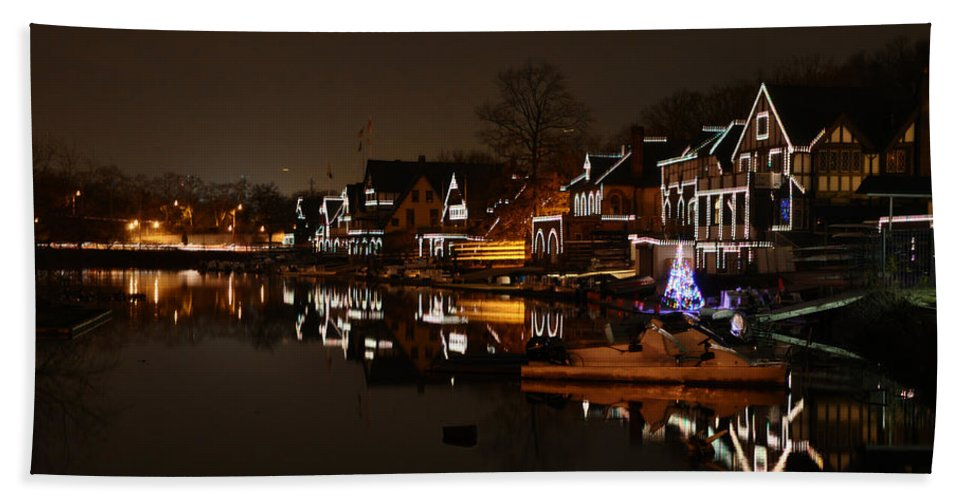 Boathouse Row All Lit Up Hand Towel featuring the photograph Boathouse Row All Lit Up by Bill Cannon