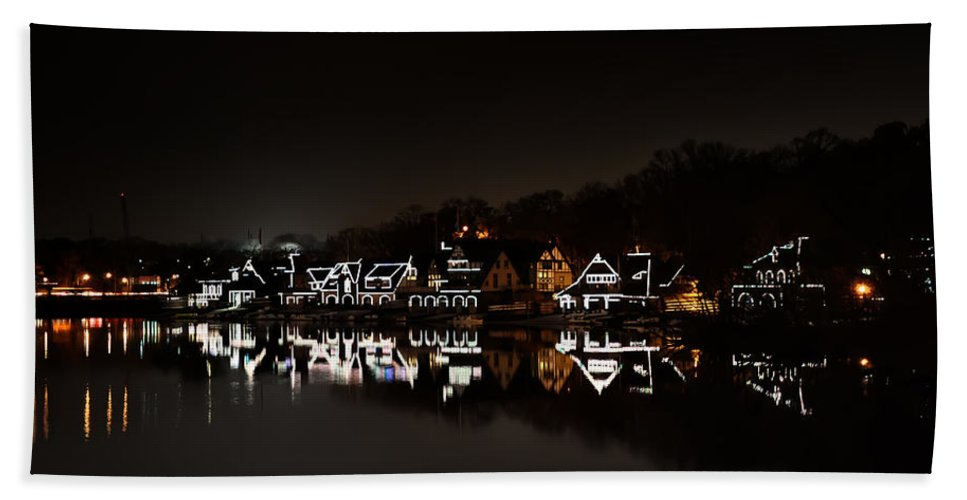 Boathouse Row At Night Hand Towel featuring the photograph Boathouse Row At Night by Bill Cannon