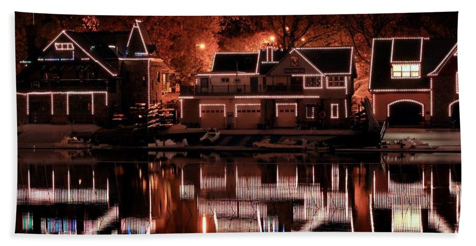 Boathouse Bath Sheet featuring the photograph Boathouse Row Reflection by Deborah Crew-Johnson