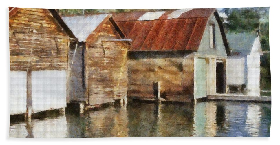 Boat Houses Hand Towel featuring the photograph Boathouses On The Torch River Ll by Michelle Calkins