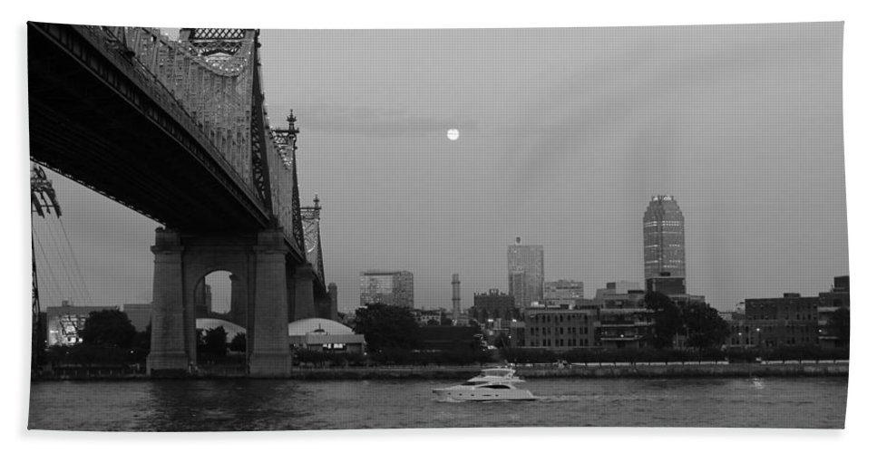 Queensboro Bridge Bath Sheet featuring the photograph Boating Under The Bridge by Catie Canetti