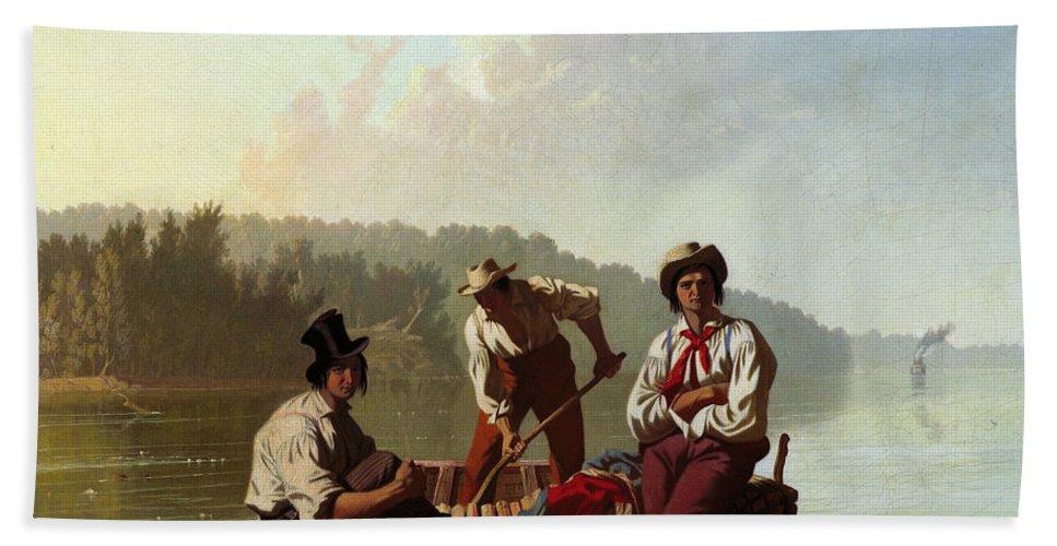George Caleb Bingham Bath Sheet featuring the painting Boatmen On The Missouri by George Caleb Bingham