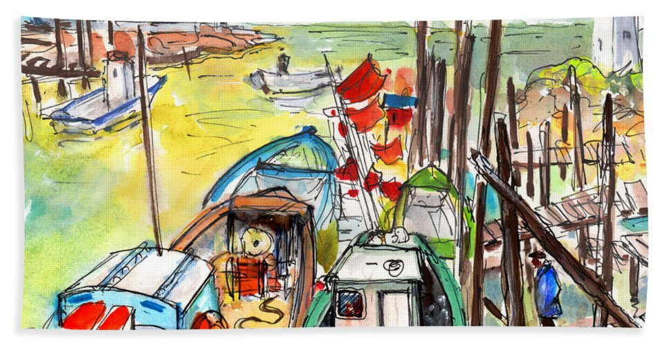 Travel Hand Towel featuring the painting Boats And Boardwalks By Brittany 02 by Miki De Goodaboom