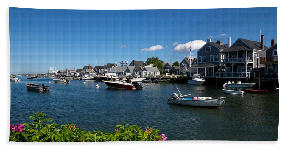 Photography Bath Sheet featuring the photograph Boats At A Harbor, Nantucket by Panoramic Images