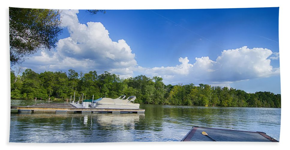 Boat Bath Sheet featuring the photograph Boats At Dock On A Lake With Blue Sky by Alex Grichenko
