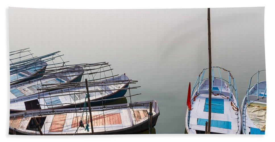 Allahabad Hand Towel featuring the photograph Boats At Sangam by Gaurav Singh