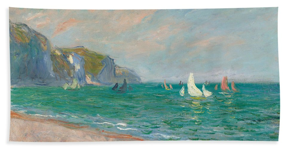 French Bath Towel featuring the painting Boats Below The Pourville Cliffs by Claude Monet