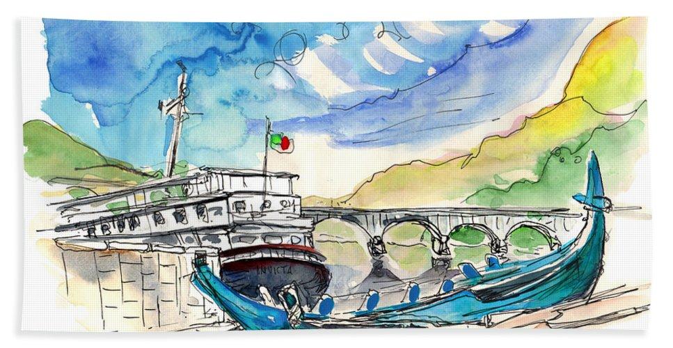 Europe Bath Sheet featuring the painting Boats In Barca De Alva 02 by Miki De Goodaboom