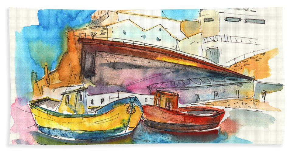 Portugal Art Hand Towel featuring the painting Boats In Ericeira In Portugal by Miki De Goodaboom
