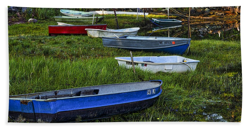 Cape Neddick Hand Towel featuring the photograph Boats In Marsh - Cape Neddick - Maine by Steven Ralser