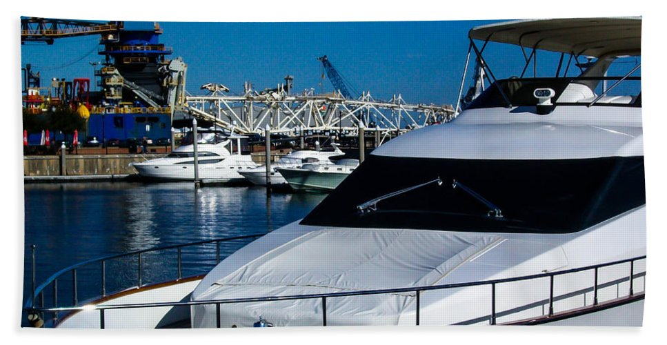 Boats Hand Towel featuring the photograph Boats In Port 2 by Mechala Matthews