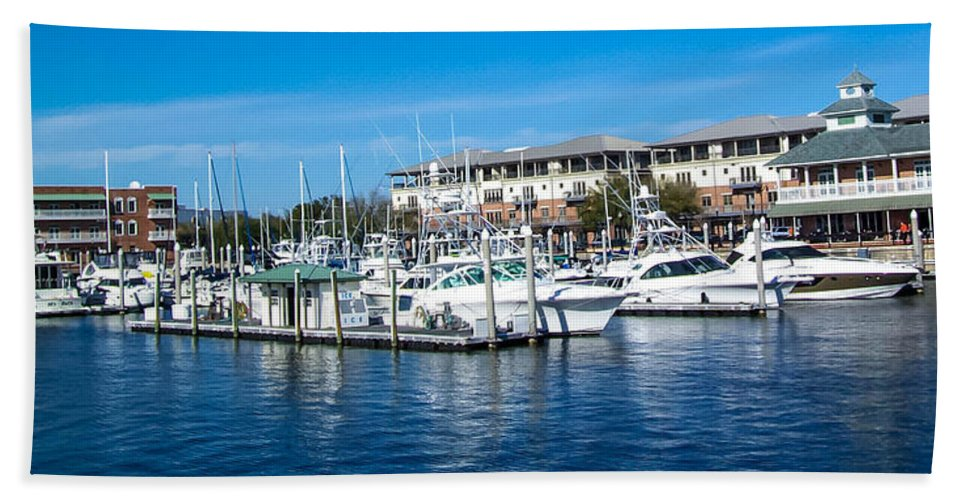 Boats In Port Hand Towel featuring the photograph Boats In Port 5 by Mechala Matthews