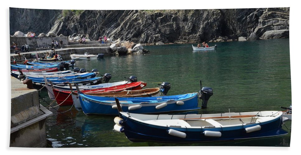 Vernazza Bath Sheet featuring the photograph Boats In Vernazza by Dany Lison