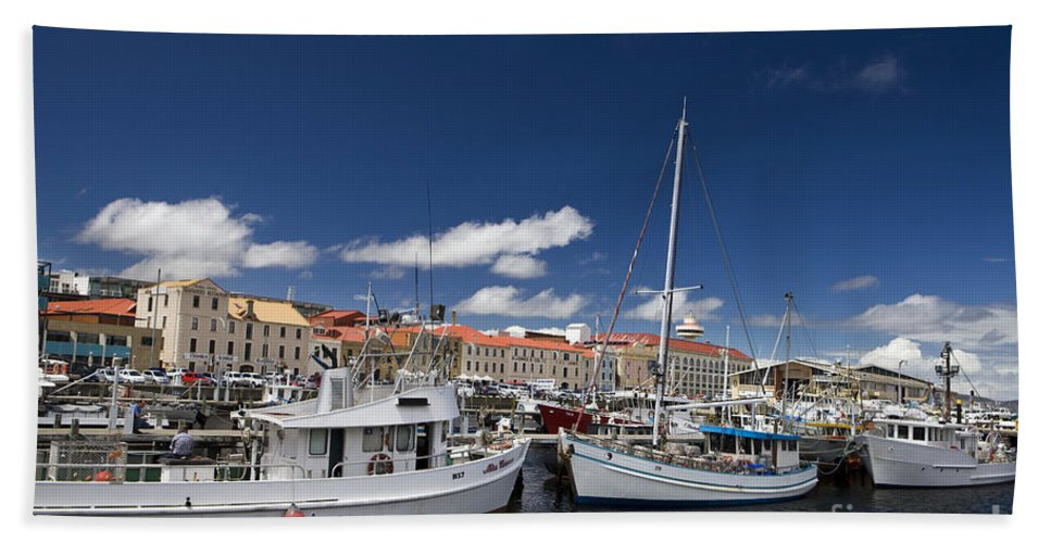 Travel Hand Towel featuring the photograph Boats Line Victoria Dock Hobar by Jason O Watson