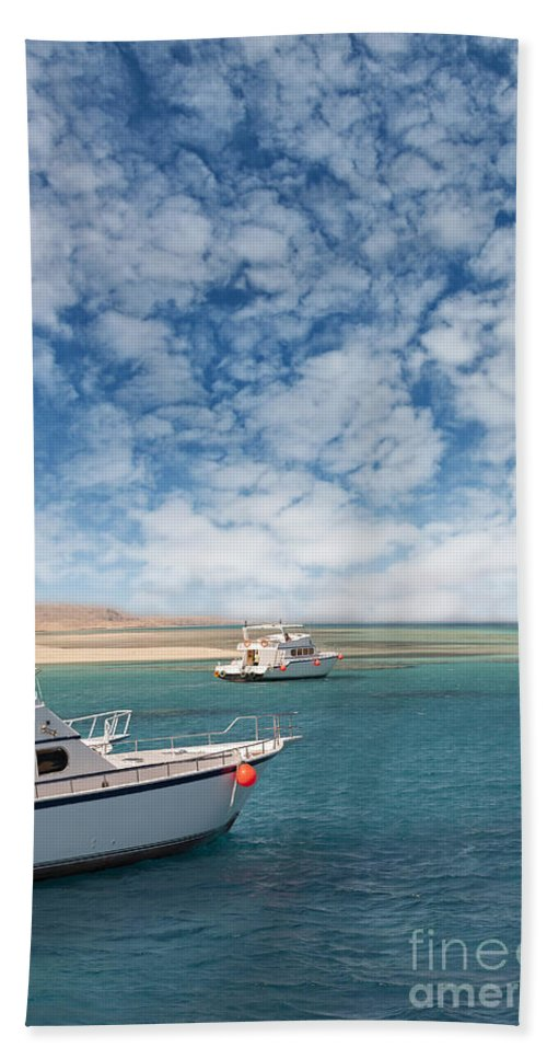 Clouds Hand Towel featuring the photograph Boats On The Red Sea Coast by Sophie McAulay